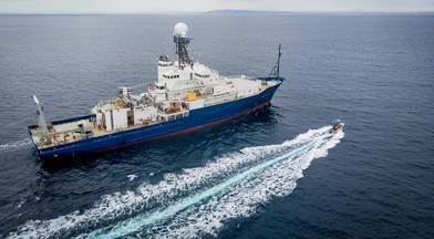 The R/V Roger Revelle pictured at sea for a 10-day