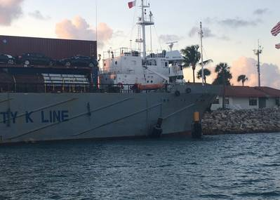 The 203-foot Panamanian-flagged cargo vessel, Betty K VI, is hard aground north of Fishers Island, Florida Thursday, Nov. 7, 2019. The cargo vessel ran aground after losing propulsion during its transit through Government Cut. (U.S. Coast Guard photo courtesy of Sector Miami)
