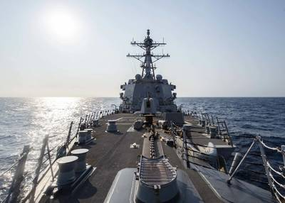 Arleigh Burke-class guided-missile destroyer USS McCampbell (DDG 85) underway on May 13, 2020, in the Indo-Pacific region while assigned to Destroyer Squadron (DESRON) 15, the Navy's largest forward-deployed DESRON and the U.S. 7th Fleet's principal surface force. (U.S. Navy photo by Markus Castaneda)