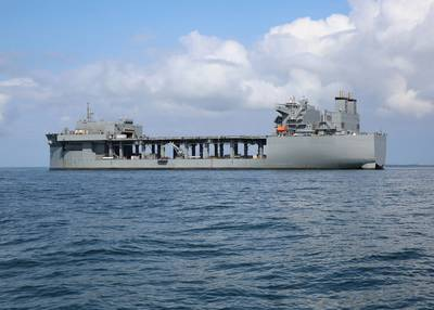 The Military Sealift Command expeditionary sea base USNS Hershel 'Woody' Williams (ESB 4) at anchor in the Chesapeake Bay in September 2019 during mine countermeasure equipment testing. (U.S. Navy photo by Bill Mesta)