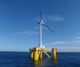 "2MW Downwind-type Floating Wind Turbine                                          ""Fukushima Mirai""                                                      (Floater: 4 Column Semi-Sub)tence with the fisheries"
