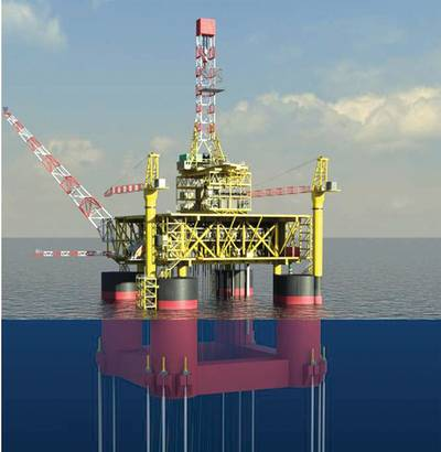 3D Model of TLP Hyundai Heavy Industries (HHI) received a letter of award for a $1.3B order for a floating production unit (FPU) and a $700m order for a tension leg platform (TLP) from Total E&P Congo. HHI will carry out engineering, procurement, supply, construction, and commissioning for the two offshore facilities to be deployed in Moho Nord field, 80 km off Republic of the Congo's coast. The 14,600-ton vertically moored floating TLP will be used to extract oil and natural gas, and transport