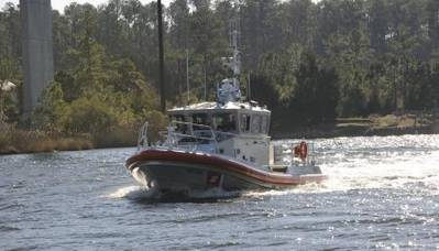 45-foot Response Boat - Medium is shown transiting the Pamlico River toward Coast Guard Station Hobucken, N.C., Thursday, Dec. 12, 2013, where it was delivered to replace their 41-foot Utility Boat. The boat is the service's 144th of 170 RB-Ms being delivered to Coast Guard units. (U.S. Coast Guard photo by Petty Officer 3rd Class David Weydert)