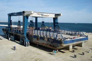 600C Marine Travelift at Mangistau Oblast Boat Yard, Kazakhstan (Photo courtesy Marine Travelift Int. Ltd)