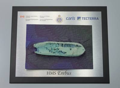 A 3D printed model of the HMS Erebus as it now sits on the ocean floor.