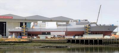 A BAE Systems Type 26 Frigate, HMS Glasgow, under construction. The Type 26 Frigate is the reference ship design for the Hunter Class Frigates.
