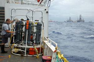 A cable-lowered sampling system was used to collect samples for lab analysis of the plume. (Credit: WHOI/Dan Torres)