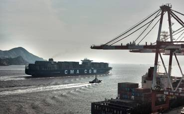A CMA CGM containership in China (Photo courtesy of CMA CGM)