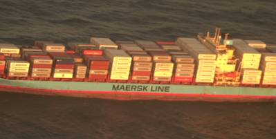 A crewmember burned by an engine room blast aboard Danish-flagged Laura Maersk off the U.S. East Coast was transported by helicopter to a hospital in Norfolk, Va. (U.S. Coast Guard video by Air Station Elizabeth City)