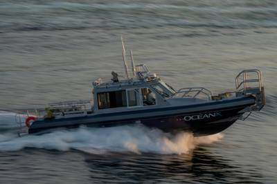A custom 38-foot Defiant-class welded aluminum monohull pilothouse vessel will be carried aboard the recently-launched R/V OceanXplorer (Photo: Andy Mann, OceanX)