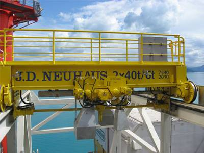 A customized, explosion protected 80 metric ton lift capacity crane as supplied by J D Neuhaus for use on an offshore rig