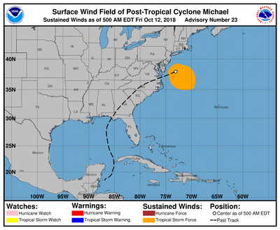 A five day look at michael's track before heading back out to sea. CREDIT: NHC