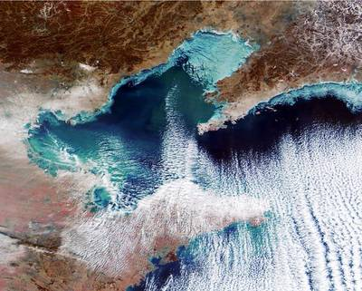 A January 26 satellite image shows sea ice in Northern China (Photo: China's National Marine Environmental Forecasting Center)