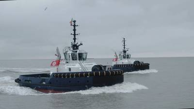 A pair of newbuild Damen tugs, VB Bolero and VB Rumba. arrived over the weekend to their homeport Zeebrugge in Belgium. Photo courtesy: Mike Louagie and Redhead TV for Boluda Towage