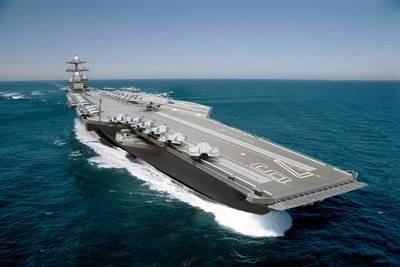 A photo illustration of the aircraft carrier John F. Kennedy (CVN 79).