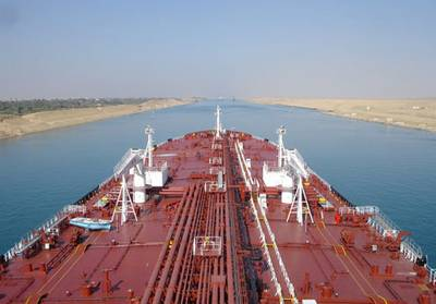 A Teekay tankship in Suez transit: Photo courtesy of Teekay Tankers