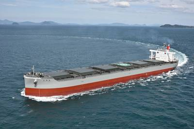 A typical coal carrier underway (Credit: K Line)