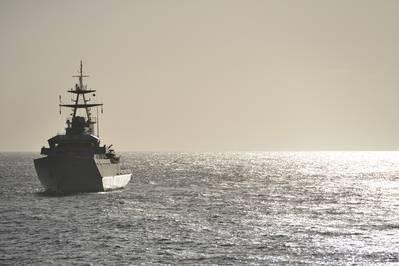 A UK Naval warship on patrol. CREDIT: AdobeStock / © Peter Cripps