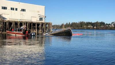 A U.S. Coast Guard boatcrew rescued four people from Darean Rose, a 40-foot commercial fishing vessel that sank in Coos Bay, Ore. (U.S. Coast Guard photo courtesy of Sector North Bend)
