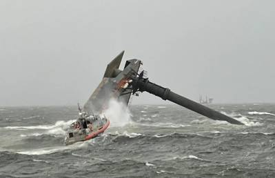 A U.S. Coast Guard Response Boat-Medium boat crew heads toward the capsized lift boat Seacor Power about 8 miles off Port Fourchon, La. on April 13, 2021. (U.S. Coast Guard photo courtesy of Coast Guard Cutter Glenn Harris)