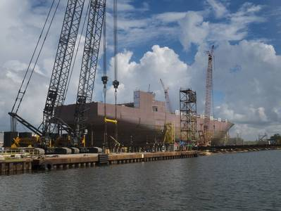 A view of the starboard side of  El Coquí under construction.  (Photo courtesy of Crowley)
