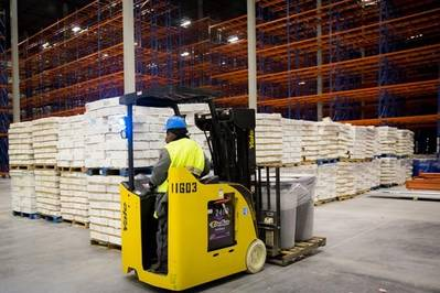 A worker moves cargo in the new cold storage facility at Nordic Logistics and Warehousing. The company held a ribbon cutting Friday, April 15, doubling the size of its Savannah operation. The 200,000 square-foot facility will handle both refrigerated and frozen cargo. (Photo: Georgia Ports Authority)