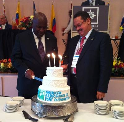 AAPA 100th birthday cake cutting with AAPA Chair Armando Duarte (right) and Immediate Past Chair Jerry Bridges.   Photo/AAPA