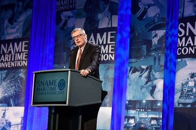 ABS Chairman, President and CEO, Christopher J. Wiernicki delivers the keynote address at the SNAME Annual Meeting and Expo in Houston on October 25, 2017 (Photo: ABS)