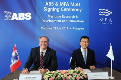 ABS Vice President of Operations, Pacific Division Derek Novak and MPA Chief Executive Andrew Tan sign the memorandum of understanding. (Photo: ABS)