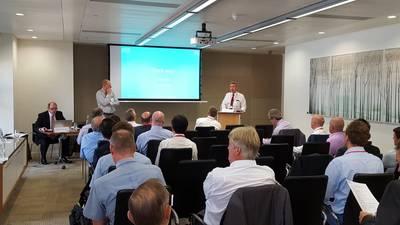 ABTO Chief Executive Ian Adams speaking to ICHCA members last week in London (Photo: ABTO)