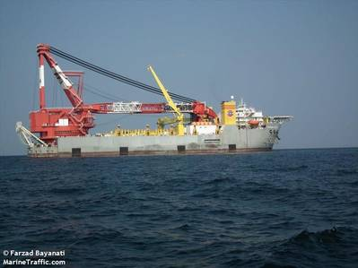 """According to Reuters, Washington has what it considers """"reliable information"""" about modifications being carried out to the Oceanic 5000, a crane ship, in Spain's Canary Islands, upgrades that U.S. officials say will equip the ship to lay pipe in deep water. Image Credit: Farzad Bayanati/MarineTraffic.com"""