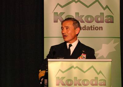 Adm. Harry B. Harris Jr., commander of U.S. Pacific Fleet, speaks about the Fleet's role in America's rebalance to the Indo-Asia-Pacific at a Kokoda Foundation conference. Harris stressed the importance of strengthening economic, diplomatic and military cooperation among the United States and allies to ensure regional stability, peace and prosperity. (U.S. Navy photo courtesy of the Kokoda Foundation)