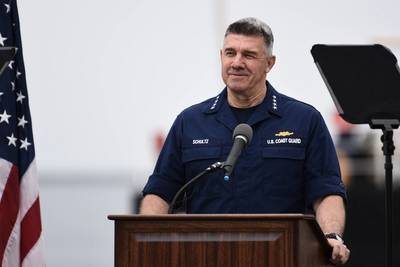 Adm. Karl Schultz delivers the annual SOTCG Address in San Pedro, CA (Image: CREDIT USCG)