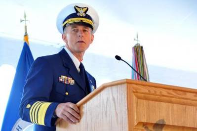 Adm. Paul Zukunft speaks during a change of command ceremony at Coast Guard Headquarters in Washington May 30, 2014. Zukunft relieved Adm. Bob Papp to become the 25th commandant of the Coast Guard. (U.S. Coast Guard photo by Petty Officer 2nd Class Patrick