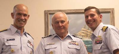 Admiral Ray, CT Auxiliary member Bruce Buckley and USCG RDC Commanding Officer Captain Greg Rothrock (Photo: Nicole Foguth)