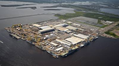 Aerial view of HII's Ingalls Shipbuilding division in Pascagoula. Photo by Lance Davis/HII