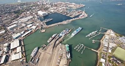Aerial view of Portsmouth and ferry terminals (Photo: LR)