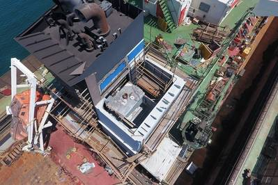Aerial view of the scrubber being fitted into place. ENVI-Marine. Pic: Pacific Green Technologies