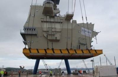 Aft island module installation: Photo courtesy of MOD UK