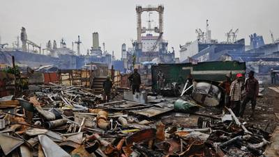 Alang, Gujarat: World's biggest ship breaking yard. Photo from Youtube video