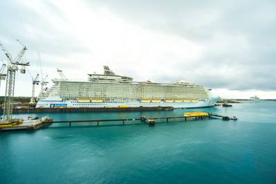 Allure of the Seas docked at the Grand Bahama Shipyard for repair work in 2014 (Photo: GBSL)