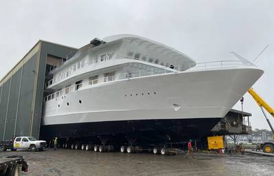 American Melody moves to launch ways at Chesapeake Shipbuilding, Salisbury, Md. (Photo: American Cruise Lines)