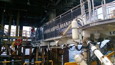 Ampelmann's L-type gangway system is particularly suited to small, crew change vessels and allows a continuous flow of up to 50 personnel every five minutes Photo courtesy Ampelmann