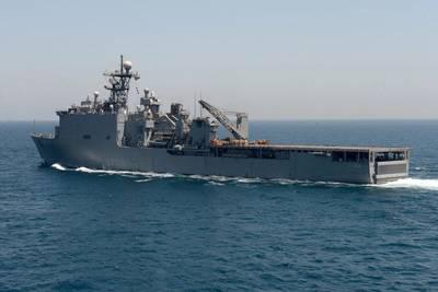 Amphibious dock landing ship USS Gunston Hall (U.S. Navy photo by Mark Andrew Hays)