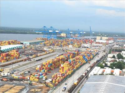 An aerial view of the Port's existing intermodal terminal, which will be transformed into a modern and more efficient intermodal container transfer terminal.