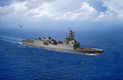 An artist rendering of the guided-missile frigate FFG(X). The new small surface combatant will have multi-mission capability to conduct air warfare, anti-submarine warfare, surface warfare, electronic warfare and information operations. (U.S. Navy graphic)