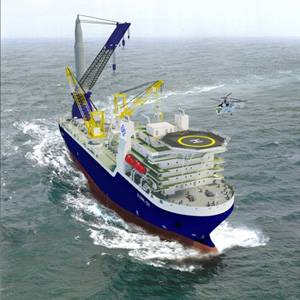 An artist's impression of the pipelaying vessel that Keppel Singmarine is building for Global Offshore