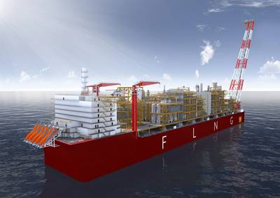 An artist's impression of the Coral South FLNG unit. Photo: © Lloyd's Register
