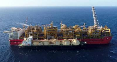 An LNG tanker next to the Prelude FLNG facility - File Photo: Shell