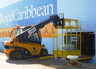 An SCH operator loads stores on the new Royal Caribbean International cruise ship Anthem of the Seas
